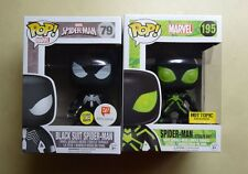 Funko POP Glow Black & Stealth Suit Spider-Man Walgreens & Hot Topic Exclusive