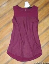 SANCTUARY Nordstrom ~ New! NWT Size Small ~ Burgundy Wine MIXED MEDIA Tunic Tank