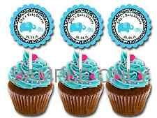 30 ct Blue Elephant Safari personalized cupcake toppers boy baby shower favors