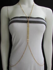women gold long body chain fish bones rhinestones jewerlry design thin necklace