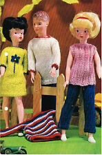 "12""  Dolls clothes knitting pattern. Laminated  copy. ( V Doll 124)"