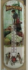 WINCHESTER FIREARMS WOMAN NOSTALGIC TIN THERMOMETER Lady Canoe NEW Camp Hunting