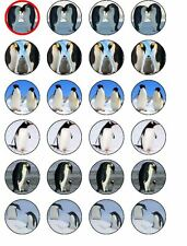 24 X PENGUINS RICE PAPER BIRTHDAY CAKE TOPPERS