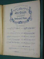 Partition ancienne  Chant et Piano F. POISE Joli Gilles Air n°1 bis pour Ténor