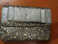DEUX LUX Womens Anais Silver Sequin Clutch NEW!