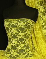 Yellow flower soft stretch lace wiith lycra fabric Q137 YL