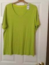 BNWT LADIES SIZE 22 GREEN COTTON SHORT SLEEVED V NECK TOP BY BAY STUDIO