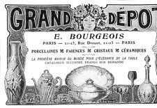 PARIS RUE DROUOT GRAND DEPOT BOURGEOIS PUBLICITE 1904