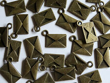 10 Antique Gold Envelope Metal Jewellery Charms 9x13mm