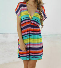 Rainbow Ladies Women Beach Kaftan Bikini Dress Summer Swimwear Holiday Swim Wear