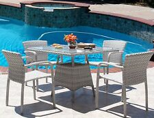 Cannes Outdoor Patio Resin Wicker Stacking Arm Chair 5 PC Dining Set
