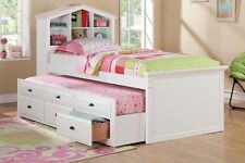 Twin Bed with Trundle in White Finish