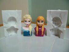 3D FROZEN ELSA OR ANNA HEAD SILICONE MOULD FOR CAKE TOPPERS CHOCOLATE, CLAY ETC