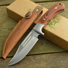 "Elk Ridge 9 1/4"" Hunter Wood Handle Fixed Blade Hunting Knife ER-052"