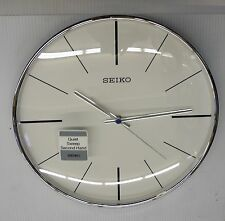 "SEIKO SILVER TONE 11.5"" ROUND  WALL CLOCK WITH QUIET SWEEP QXA634ALH"