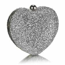 New Silver Glittery Heart Evening Clutch Bag Wedding Proms Cruises Party's Gifts