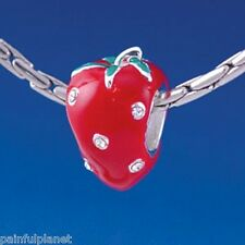 **RED ENAMEL STRAWBERRY** Large Hole European Bead Charm ~~USA Seller
