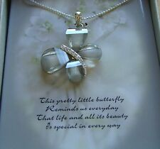 Necklace Butterfly Pendant  silver sparkly  pretty-- gift box