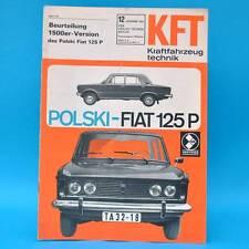 DDR KfT Kraftfahrzeugtechnik 12/1969 Polski Fiat 125 Autobianchi Renault R 12 B