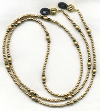 GOLD Beaded Eyeglass~Glasses Necklace Holder Leash Necklace Chain CUSTOM LENGTH