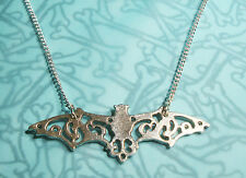 SILVER METAL BAT PENDANT NECKLACE GOTHIC