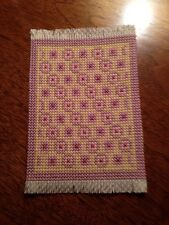 DOLLHOUSE MINIATURE HANDMADE CROSS STITCH RUG, SIGNED
