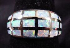 "Sterling 925 Silver SF Size 9 Ring 18 White Lab Fire Opal Inlay 3/8"" Wide"