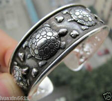 Hot !Tibetan Tribe Jewelry Tibet Silver Amulet Lucky Turtle Cuff Bracelet Bangle