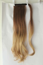 Wavy Straight Wrap Around Ponytail Clip in hair extensions Ombre Dip dye Long