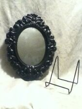 Black Gloss Oval Baroque Victorian Renaissanc Antique Wall Table Plastic Mirror