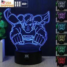 Super Hero Superman 3D Acrylic LED 7 Color  Night Lights Touch Desk Table Lamp
