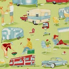 Michael Miller TRAILER TRAVEL Novelty 50s Caravan Air Stream Fabric - Multi