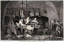 Una Cucina, di Rousseau. Cuoco ai Fornelli. Stampa Antica + Passepartout. 1862