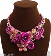 SUBLIME Collier métal doré, cristal, fleurs, rose, marron, bijoux fantaisie