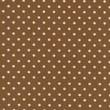 Robert Kaufman Pimatex Basics Small Pink Dots Brown Poplin Fabric Yard
