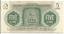 Tripolitania Banknote Italy Military Authority 5 Lira pM2 XF 1943 WW2 Rare Libya