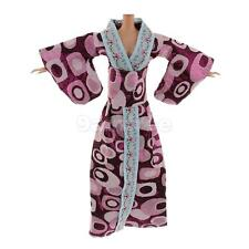 Traditional Japanese Kimono Costume Dress Clothes for Barbie Doll Purple