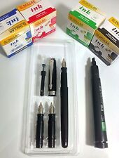 CALLIGRAPHY FOUNTAIN PEN SET+ 3 GENUINE STAINLESS STEEL NIB+ 4 INK BOTTLES..