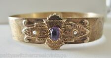 Estate Antique Nouveau Carved Brass Ladies Bangle Bracelet Amethyst Seed Pearls