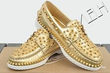 CHRISTIAN LOUBOUTIN 995$ New Gold Leather Yacht Spikes Flat Loafers sz 35 5
