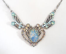 NEW ANNE KOPLIK DOUBLE DRAGONFLY SWAROVSKI CRYSTAL & FAUX OPAL NECKLACE