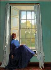 Art Postcard: Woman in Blue Dress at Window seat - Irish artist William Orpen