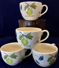 SET OF 4 Wedgwood Sarah's Garden Tea Cups Queen's Ware England Floral Citrus