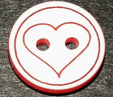 12 Pretty White with Red Heart Buttons  13mm  (2300j)