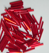 250 Vintage 20mm SL Garnet Ruby Red Czech Glass LONG Tube Spacers Silver Lined