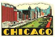 Chicago, IL    Illinois    Vintage-Looking Travel Decal/Luggage Label/Sticker