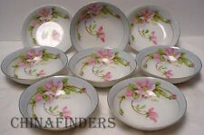 ROYAL RUDOLSTADT Prussia China HANDPAINTED Set of 8 FRUIT dessert BERRY BOWLS