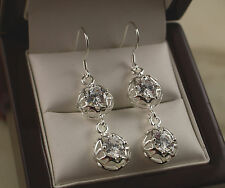 925 Stamped Silver Long Dangle Filigree Ball Earrings with CZ Crystals - New -69