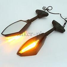 LED Turn Signals Rearviews Mirrors for Kawasaki Ninja 250R 500 EX ZX6R ZX7 ZX9