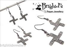 St. Brigid Cross Pagan Pewter Earrings Pagan Jewellery Wiccan  - Made To Order